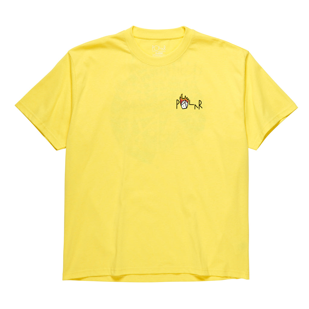 Polar Skate Co Castle Fill Logo T Shirt in Yellow - Front