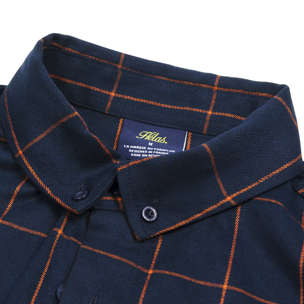 Helas Classic Carreaux Shirt in Navy - Collar