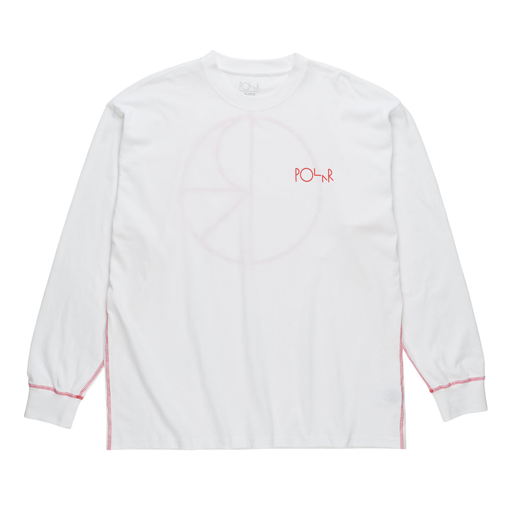 Polar Skate Co L/S Contrast T Shirt in White / Red - Front