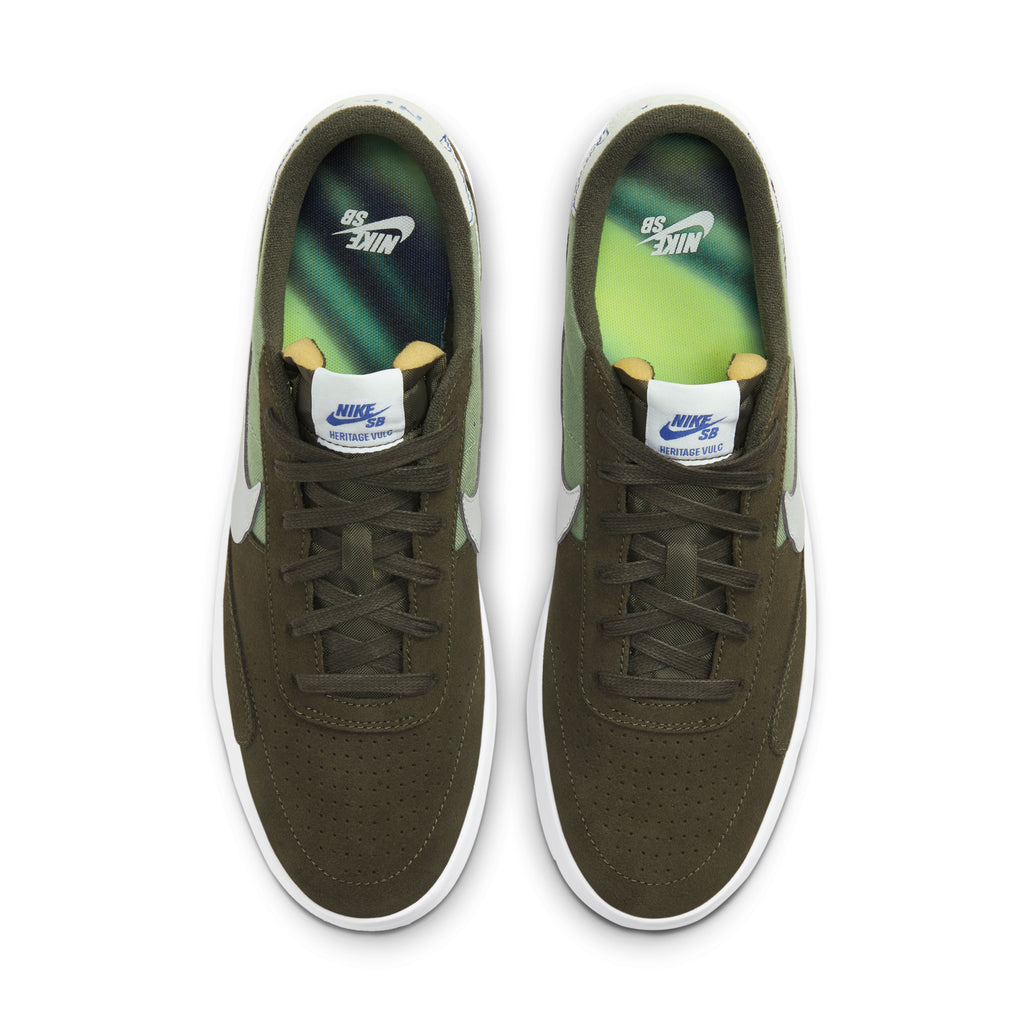 Nike SB Heritage Vulc Premium Shoes in Cargo Khaki / Medium Grey - Spiral Sage - Top