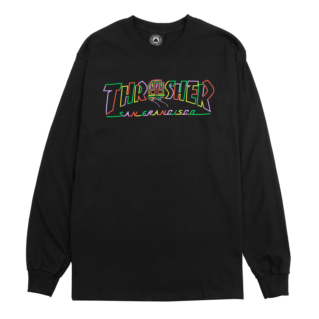 Thrasher L/S Cable Car T Shirt in Black