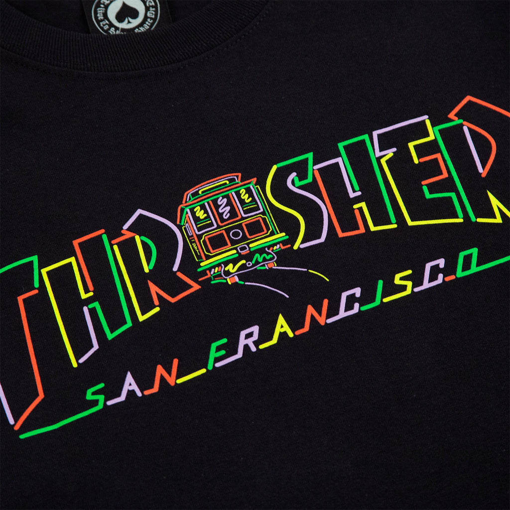 Thrasher L/S Cable Car T Shirt in Black - Print