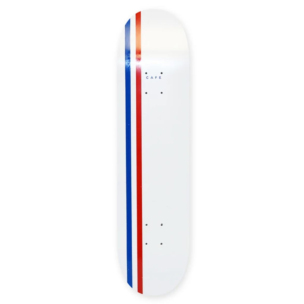 Skateboard Cafe Stripe White / Royal / Red Skateboard Deck - 8.5""