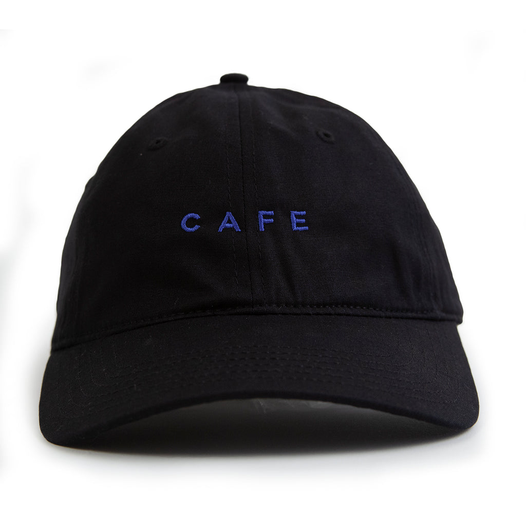 Skateboard Cafe Embroidered 6 Panel Cap in Black - Front