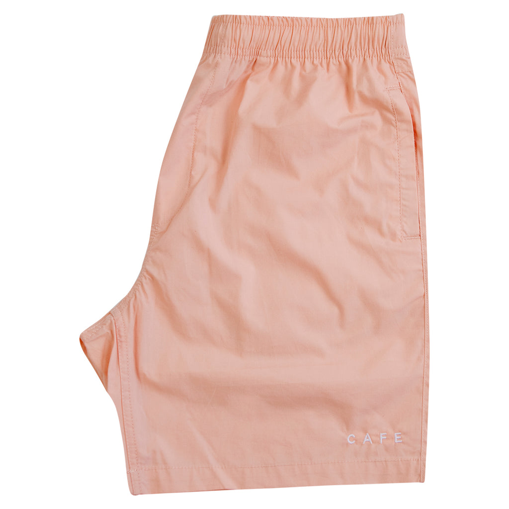 Skateboard Cafe Embroidered Shorts in Pink - Folded