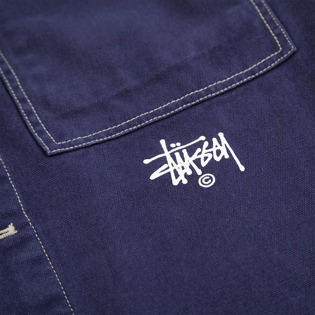 Stussy Canvas Shop Jacket in Navy - Logo