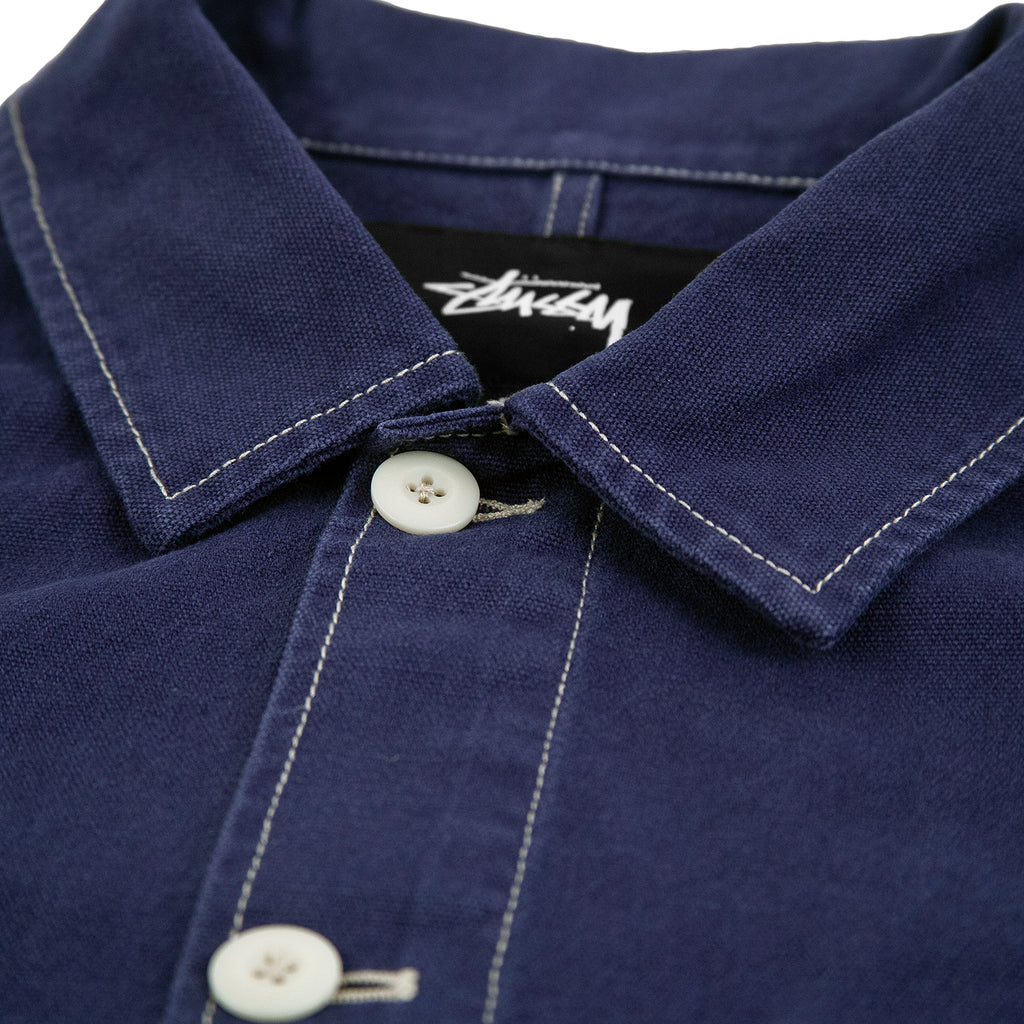 Stussy Canvas Shop Jacket in Navy - Collar