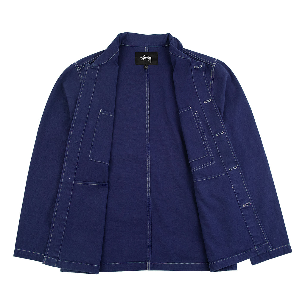Stussy Canvas Shop Jacket in Navy - Open