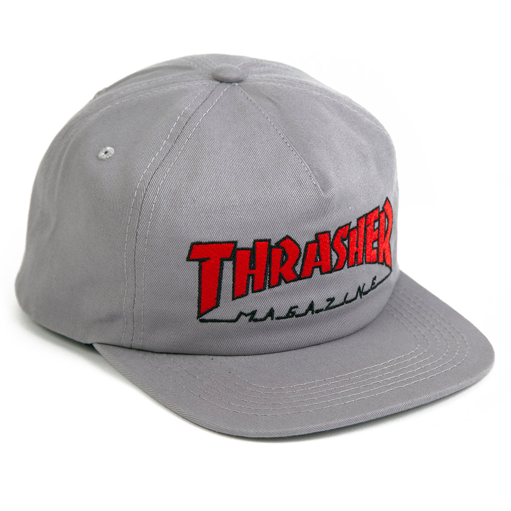 Thrasher Outlined Snapback Cap in Grey / Red