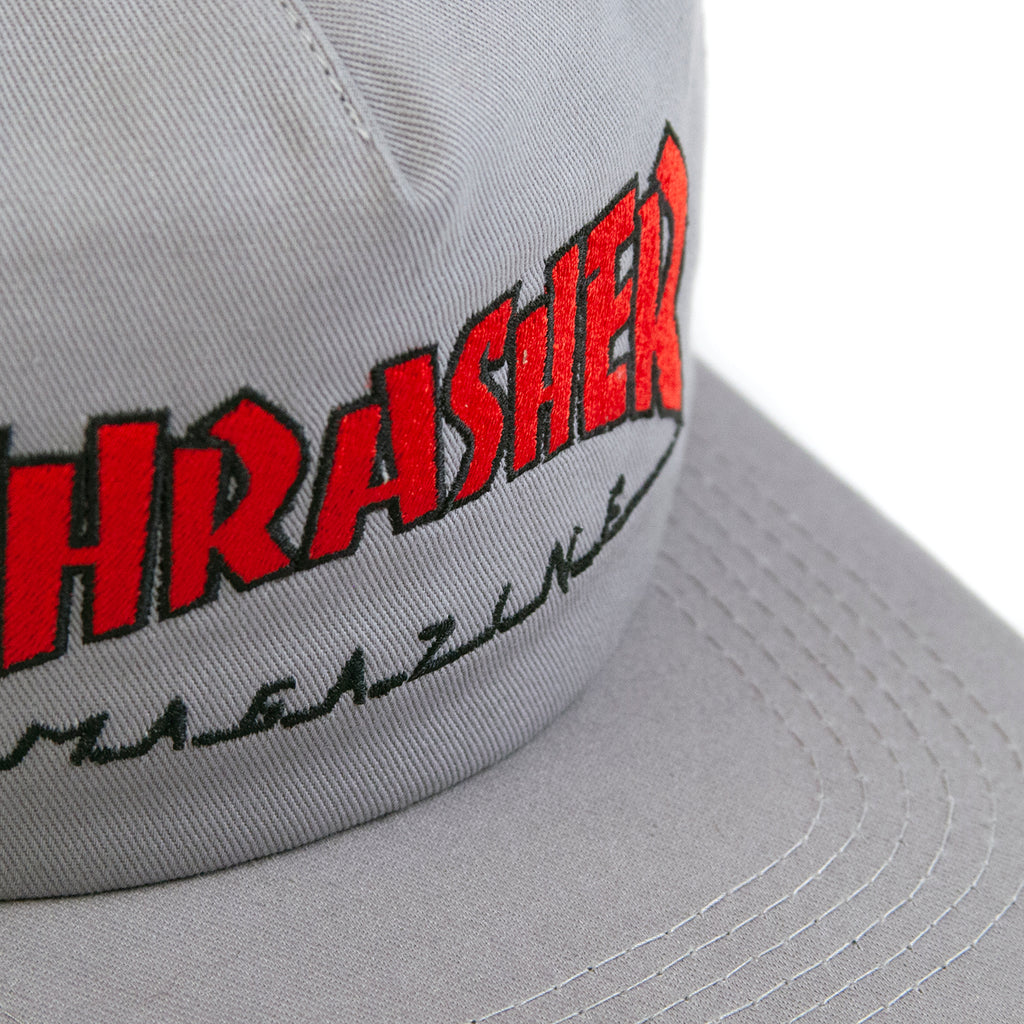 Thrasher Outlined Snapback Cap in Grey / Red - Embroidery