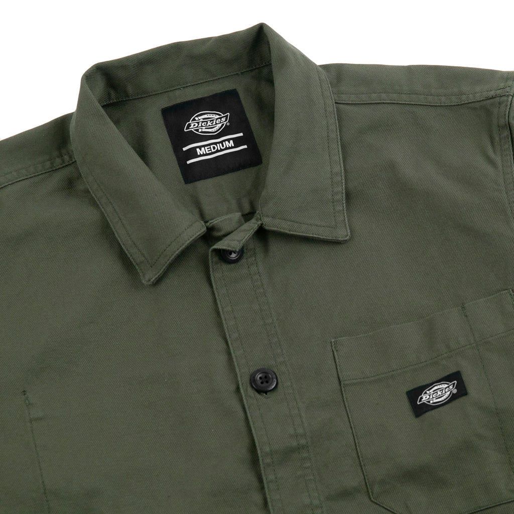 Dickies Caprock Over Shirt in Dark Olive - Detail