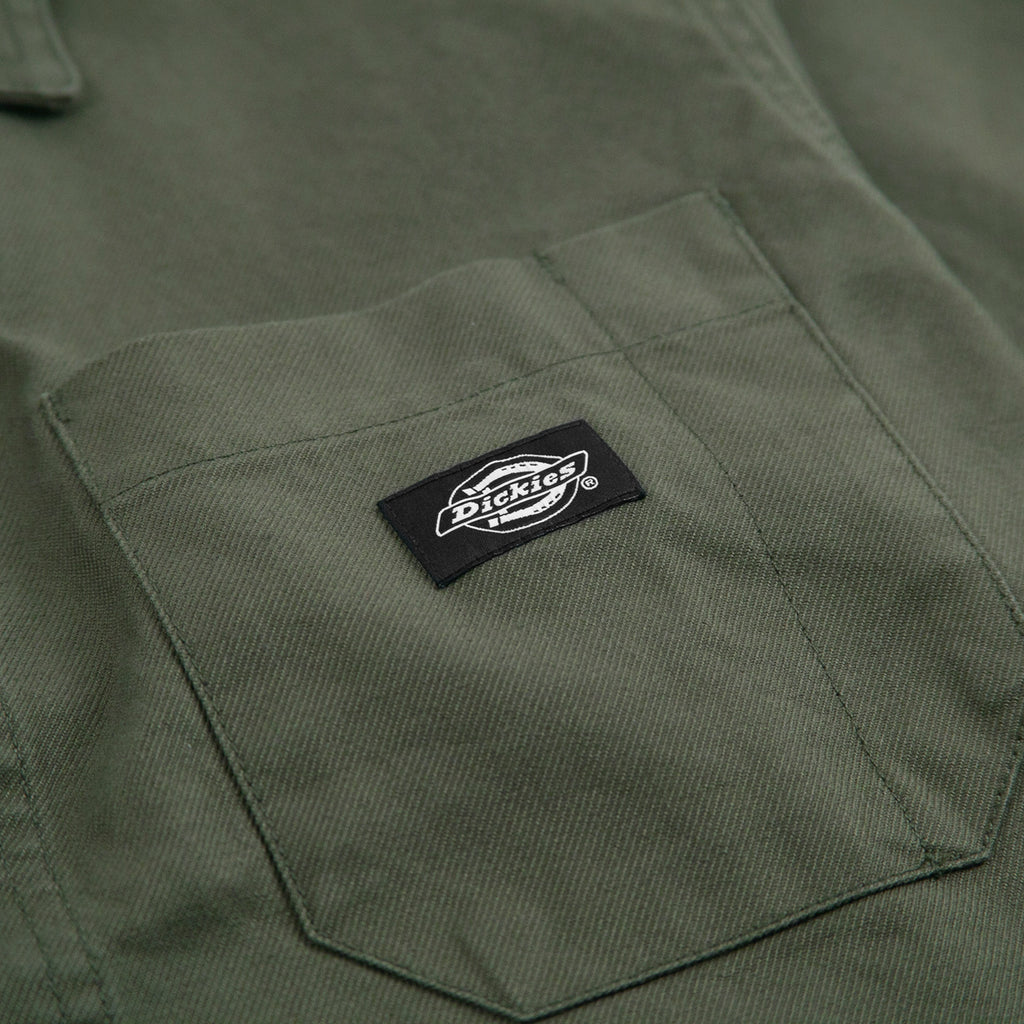 Dickies Caprock Over Shirt in Dark Olive - Label