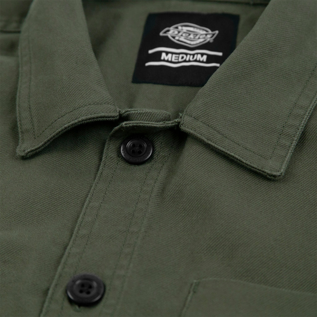 Dickies Caprock Over Shirt in Dark Olive - Collar
