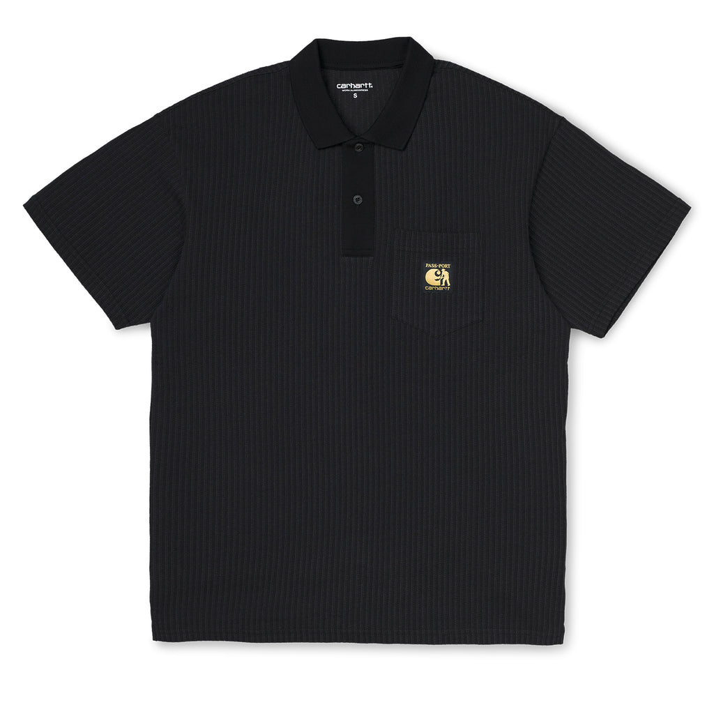 Carhartt x Pass Port Polo in Black / Stripe