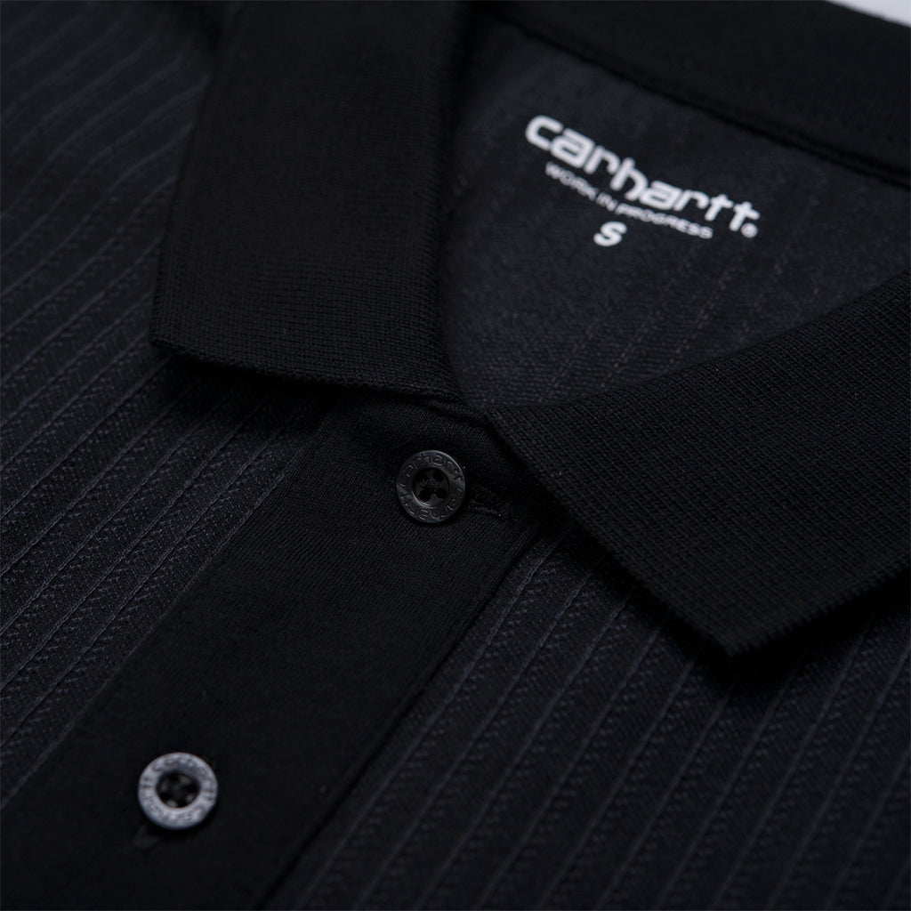 Carhartt x Pass Port Polo in Black / Stripe - Collar