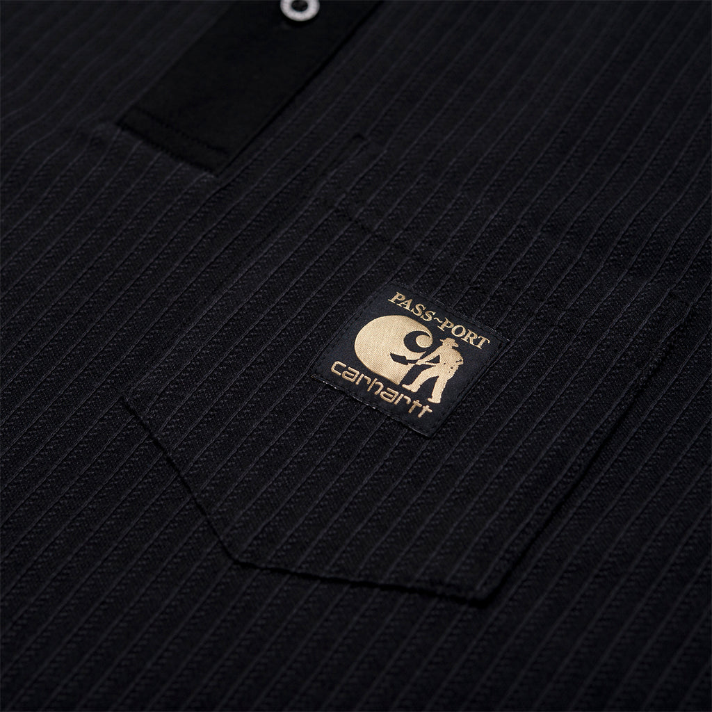 Carhartt x Pass Port Polo in Black / Stripe - Detail