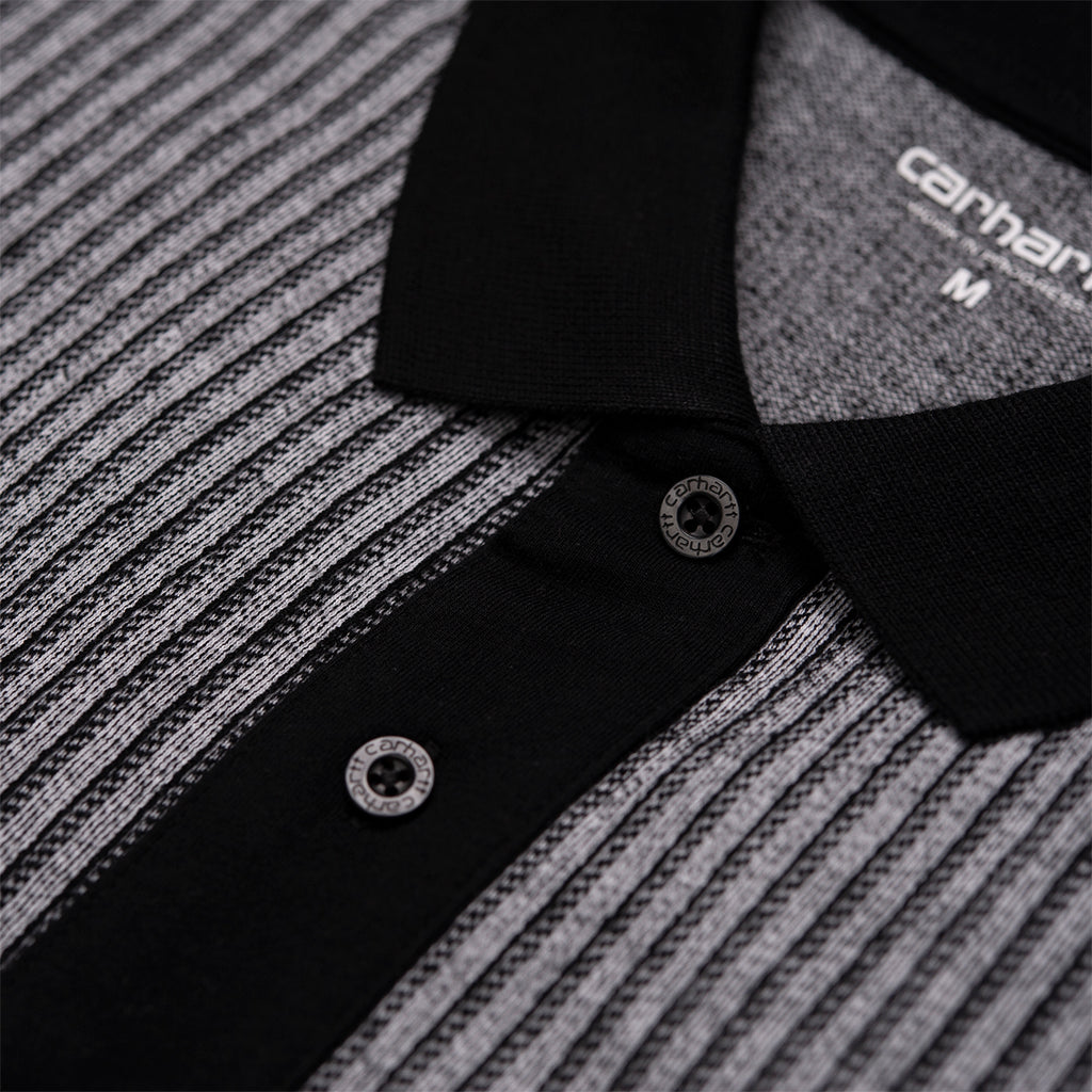 Carhartt x Pass Port Polo in White / Stripe - Placket
