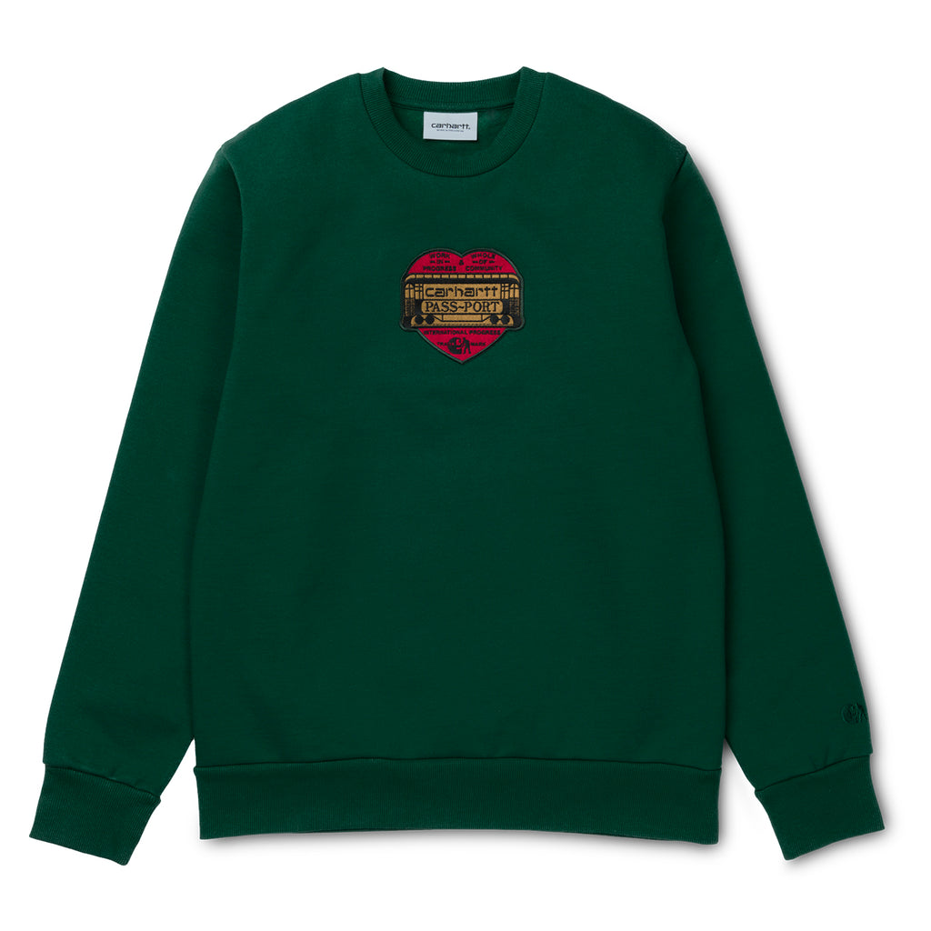 Carhartt WIP x Pass Port Thank You Sweatshirt in Bottle Green