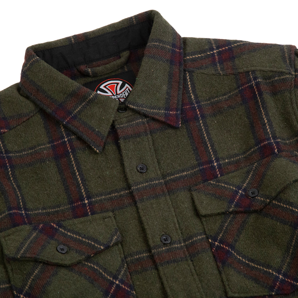 Independent Trucks Chainsaw Shirt in Military Plaid - Detail