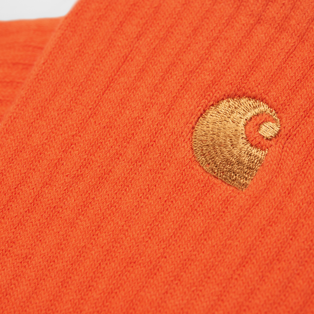 Carhartt WIP Chase Socks in Safety Orange / Gold - Detail