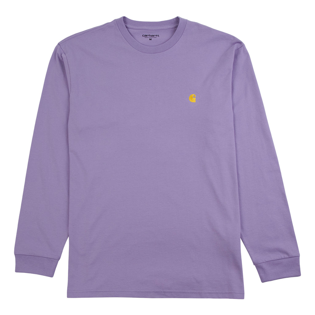 Carhartt L/S Chase T Shirt in Soft Lavender / Gold