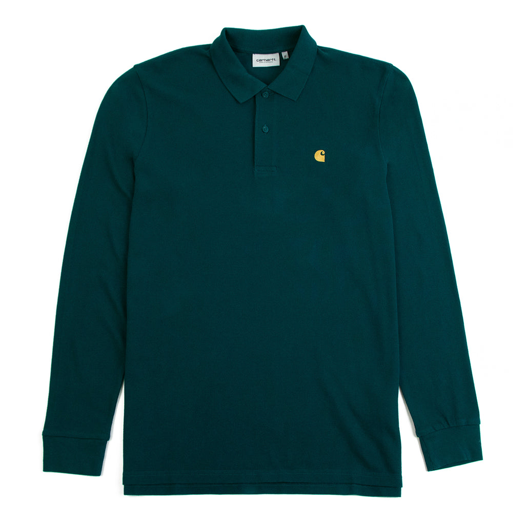 Carhartt WIP L/S Chase Pique Polo Shirt in Dark Fir / Gold