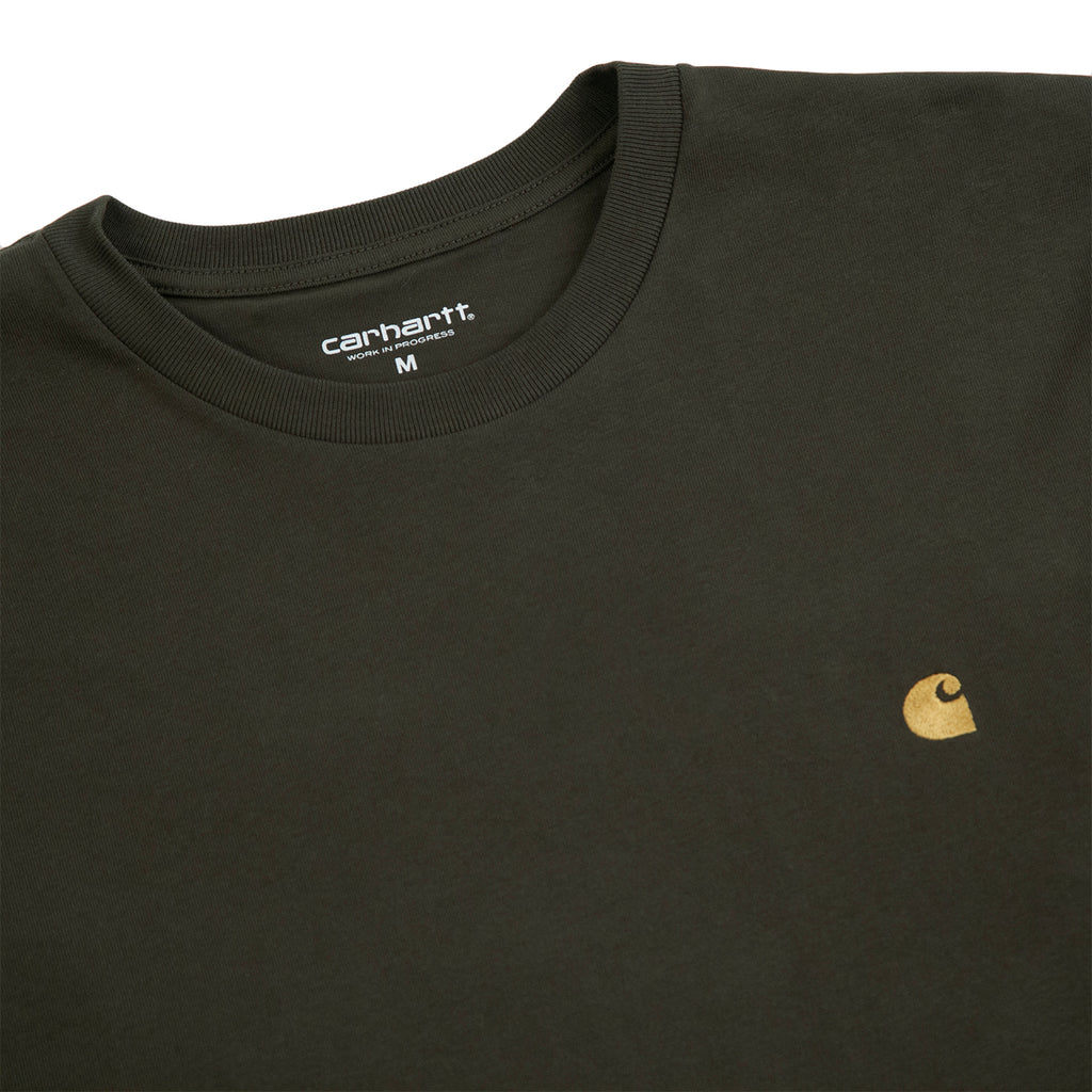 Carhartt WIP L/S Chase T Shirt in Cypress / Gold - Detail