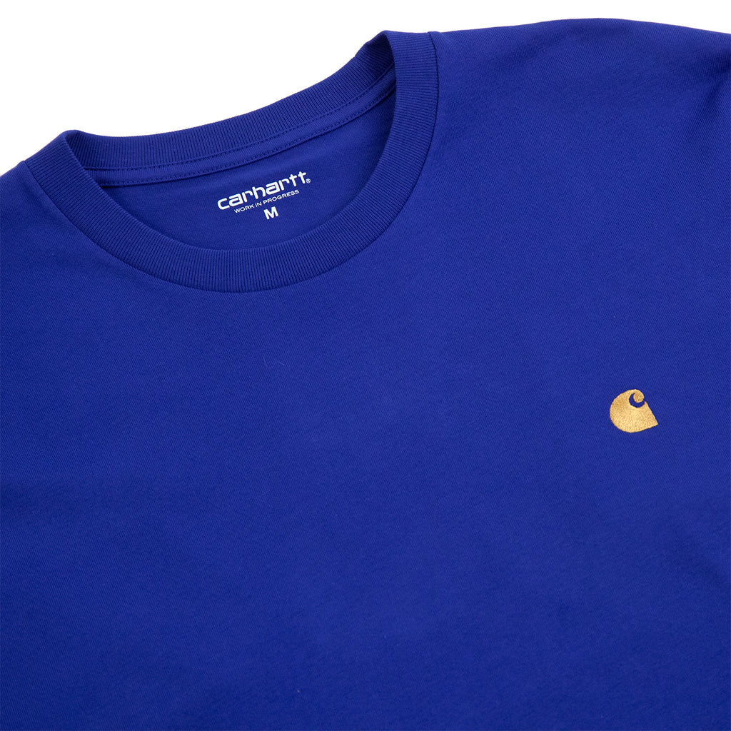 Carhartt WIP L/S Chase T Shirt in Submarine / Gold - Detail