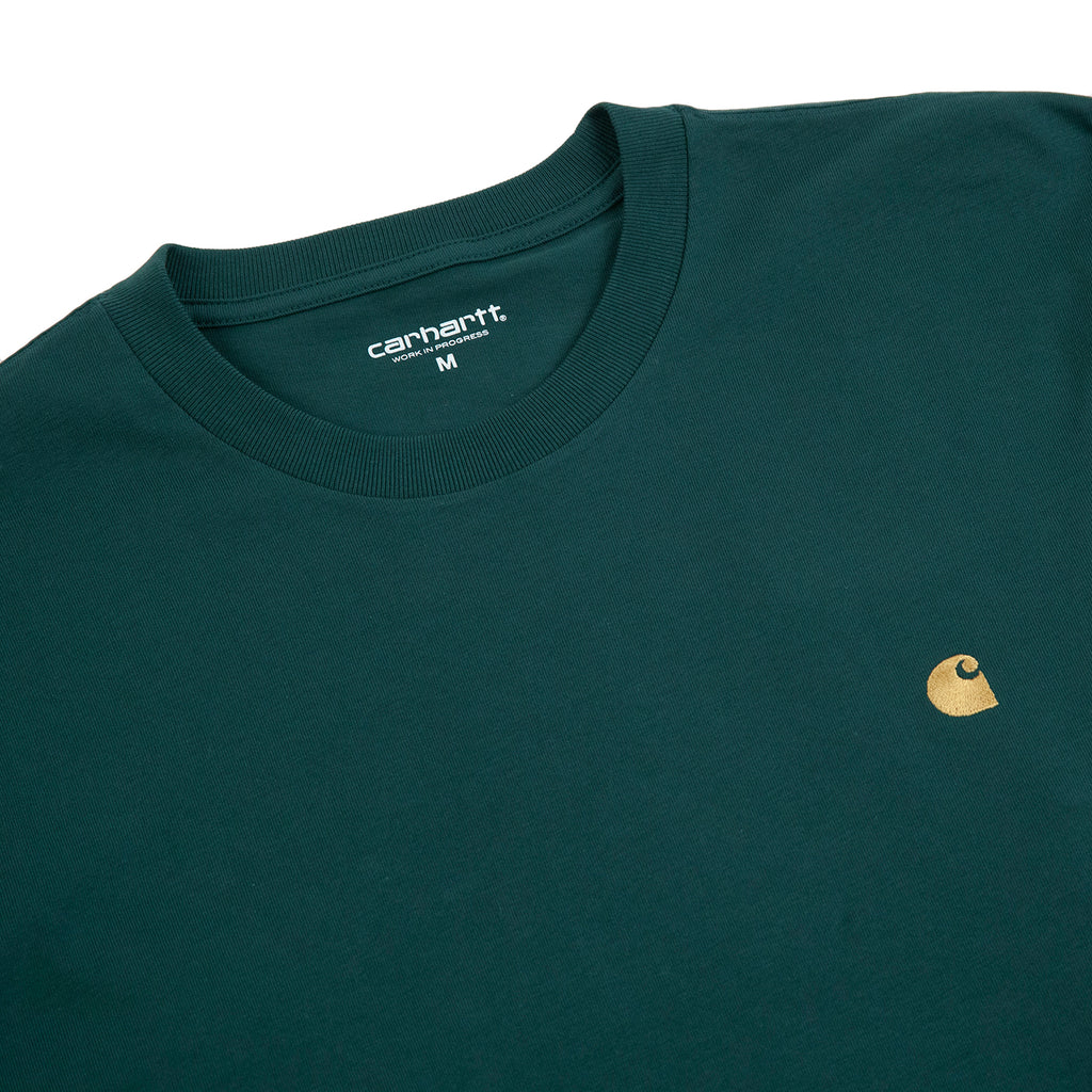Carhartt WIP L/S Chase T Shirt in Treehouse / Gold - Detail