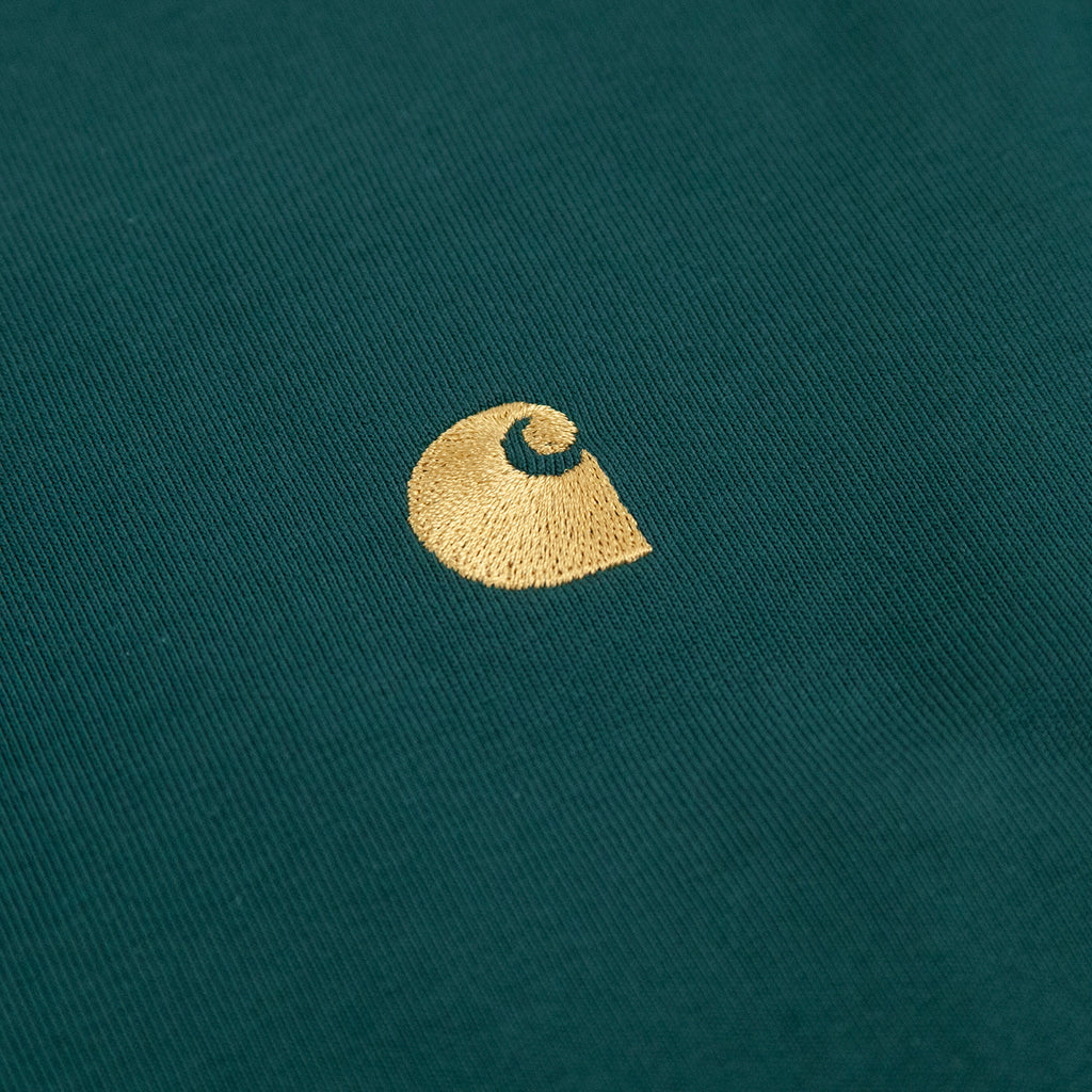 Carhartt WIP L/S Chase T Shirt in Treehouse / Gold - Embroidery