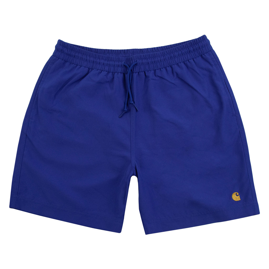 Carhartt WIP Chase Swim Shorts in Submarine / Gold