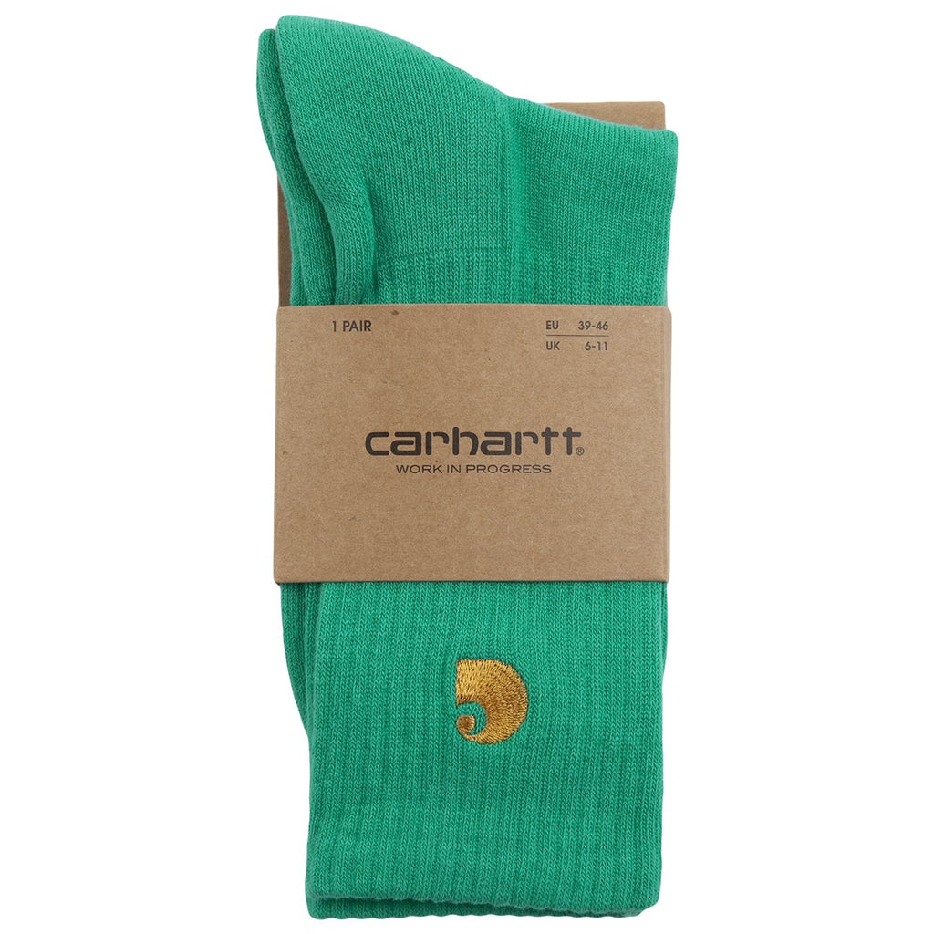 Carhartt WIP Chase Socks in Yoda / Gold - Packaged