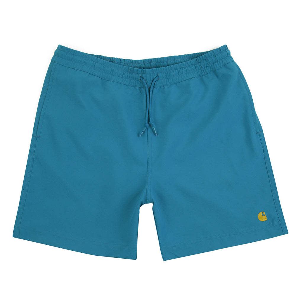 Carhartt WIP Chase Swim Shorts in  Pizol / Gold