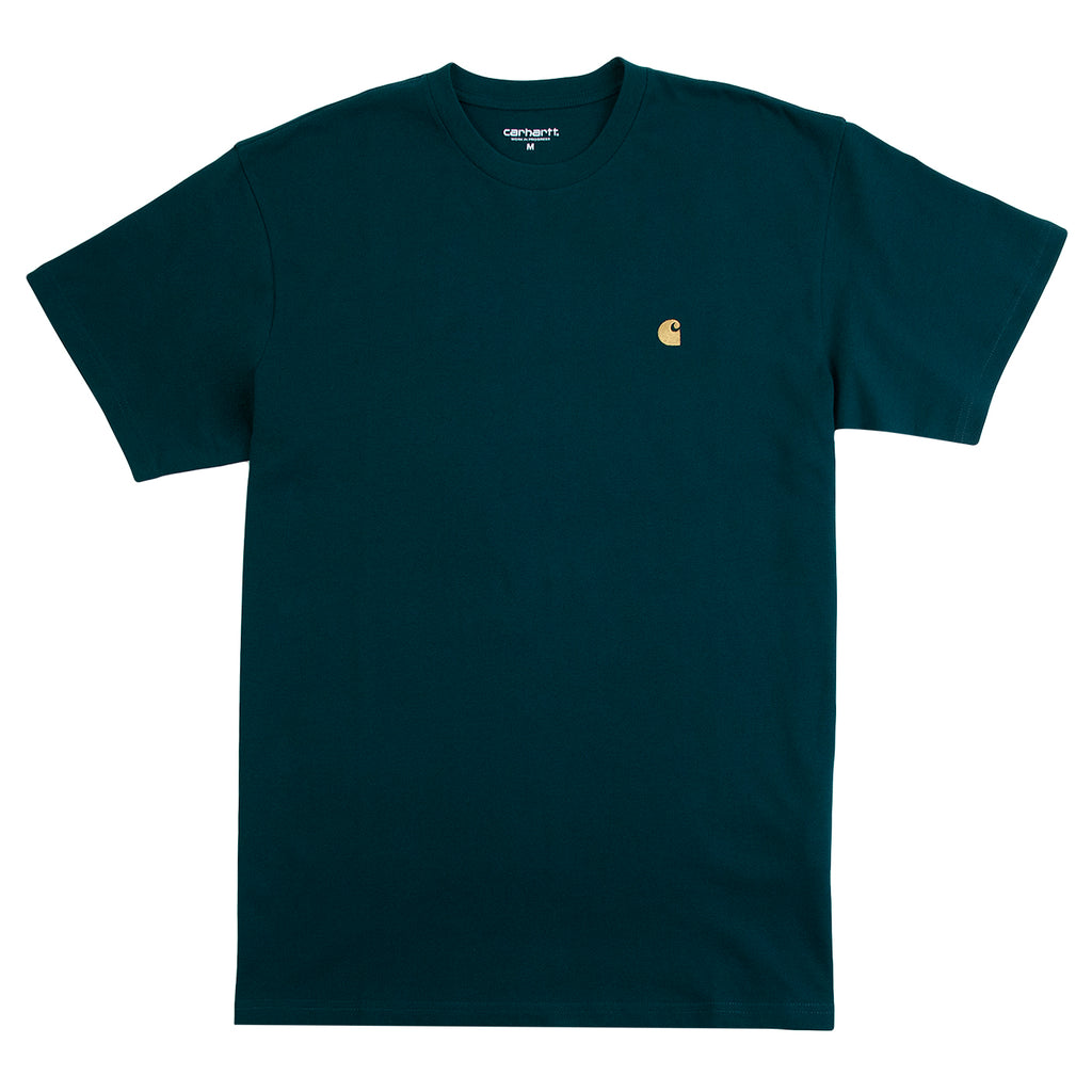 Carhartt WIP Chase T Shirt in Dark Fir / Gold