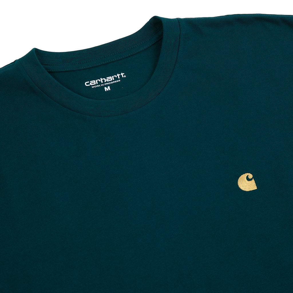 Carhartt WIP Chase T Shirt in Dark Fir / Gold - Detail