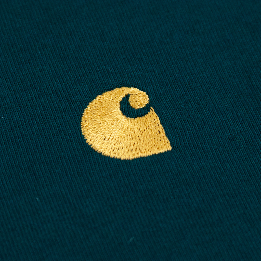 Carhartt WIP Chase T Shirt in Dark Fir / Gold - Embroidery