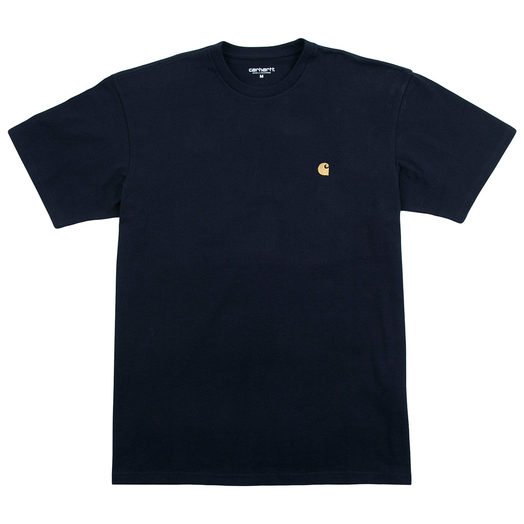 Carhartt WIP Chase T Shirt in Dark Navy / Gold