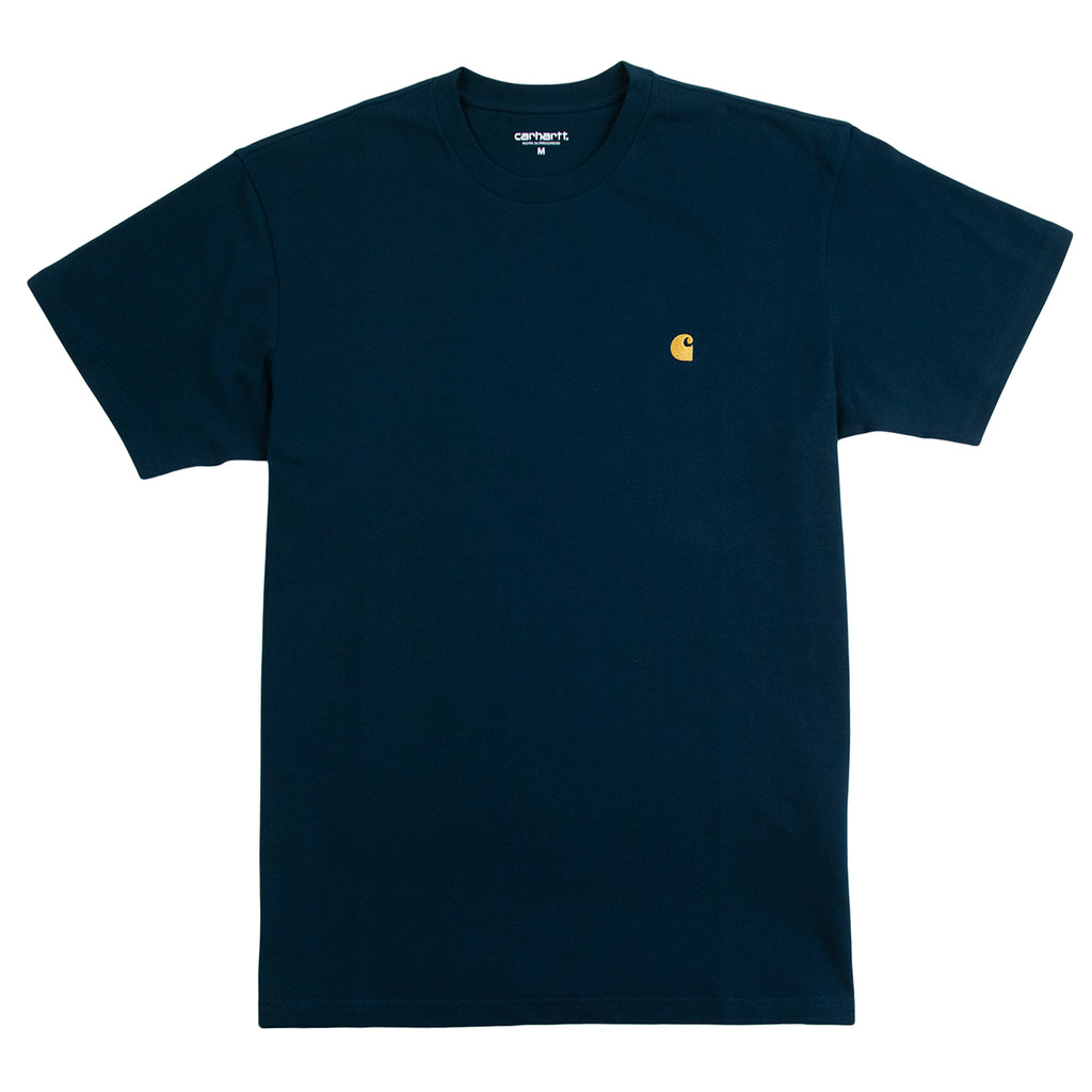 Carhartt WIP Chase T Shirt in Duck Blue / Gold
