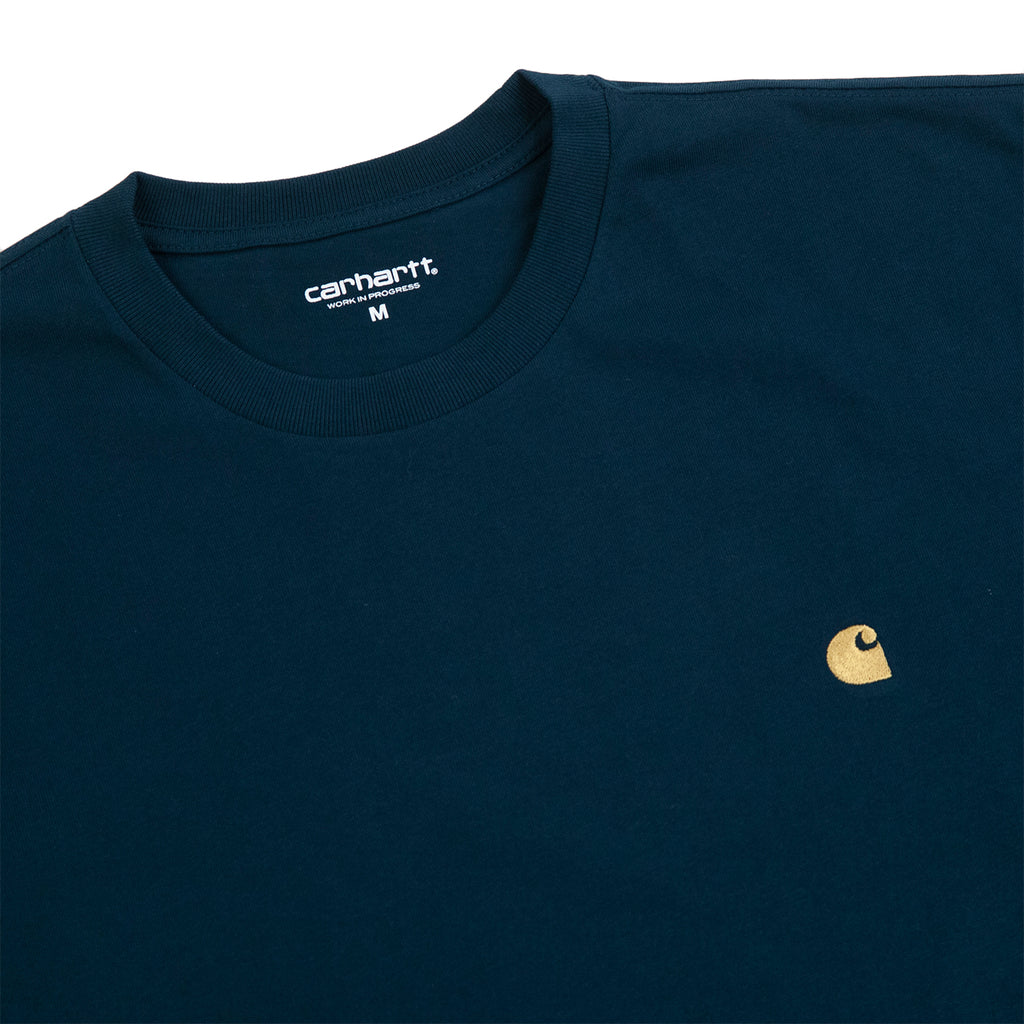 Carhartt WIP Chase T Shirt in Duck Blue / Gold - Detail