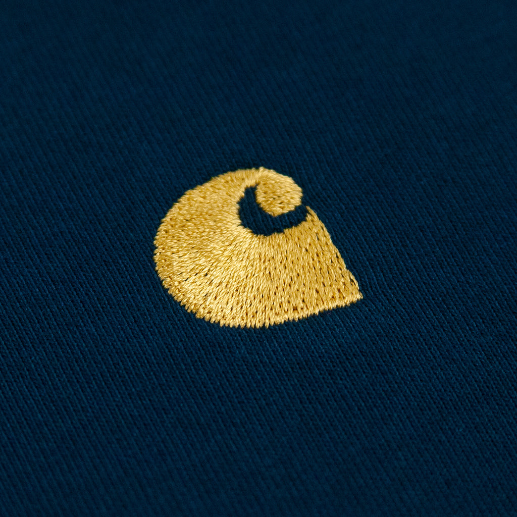 Carhartt WIP Chase T Shirt in Duck Blue / Gold - Logo