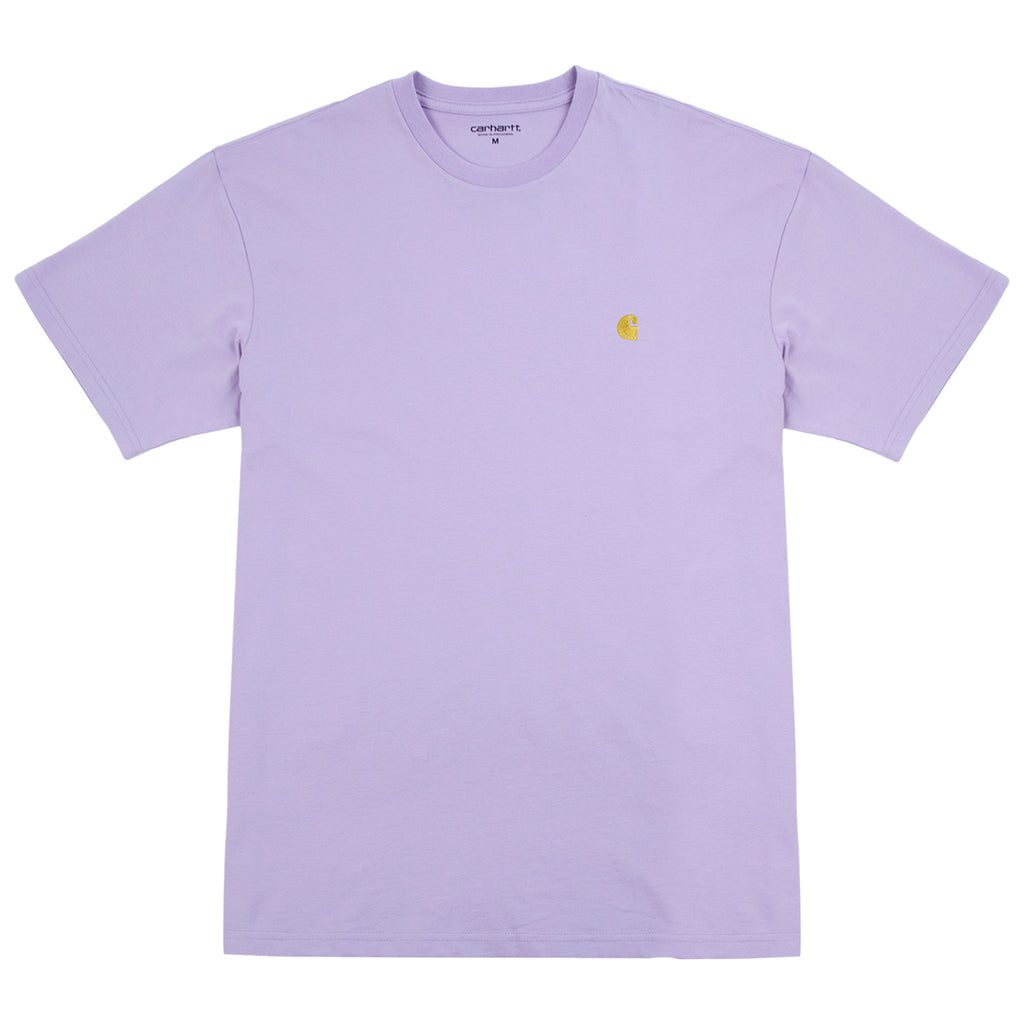 Carhartt Chase T Shirt in Soft Lavender / Gold