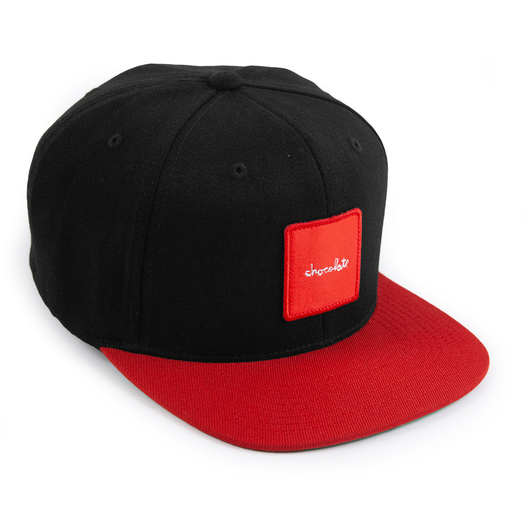 Chocolate Red Square Snapback Cap in Black / Red