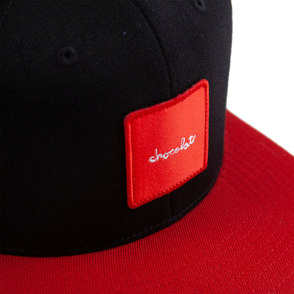 Chocolate Red Square Snapback Cap in Black / Red - Patch