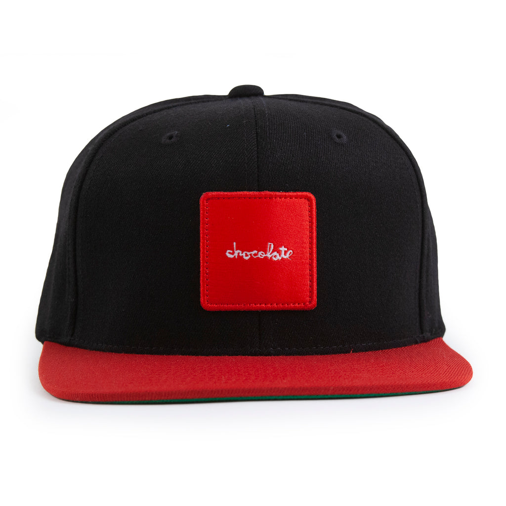 Chocolate Red Square Snapback Cap in Black / Red - Front