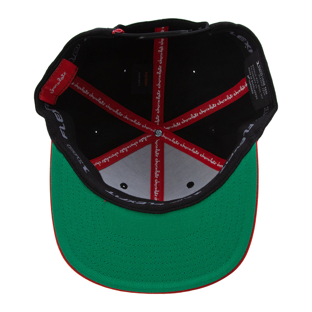 Chocolate Red Square Snapback Cap in Black / Red - Inside