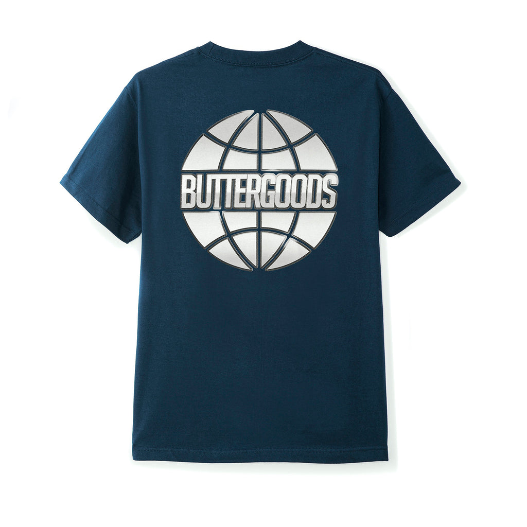 Butter Goods Chrome Worldwide T Shirt in Navy