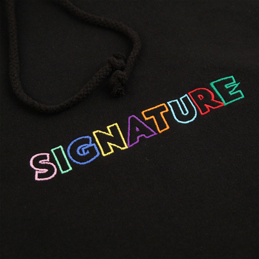 Signature Clothing Outline Logo Embroidered Hoodie in Black / Multi - Embroidery