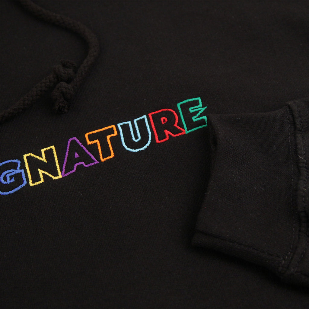 Signature Clothing Outline Logo Embroidered Hoodie in Black / Multi - Sleeve