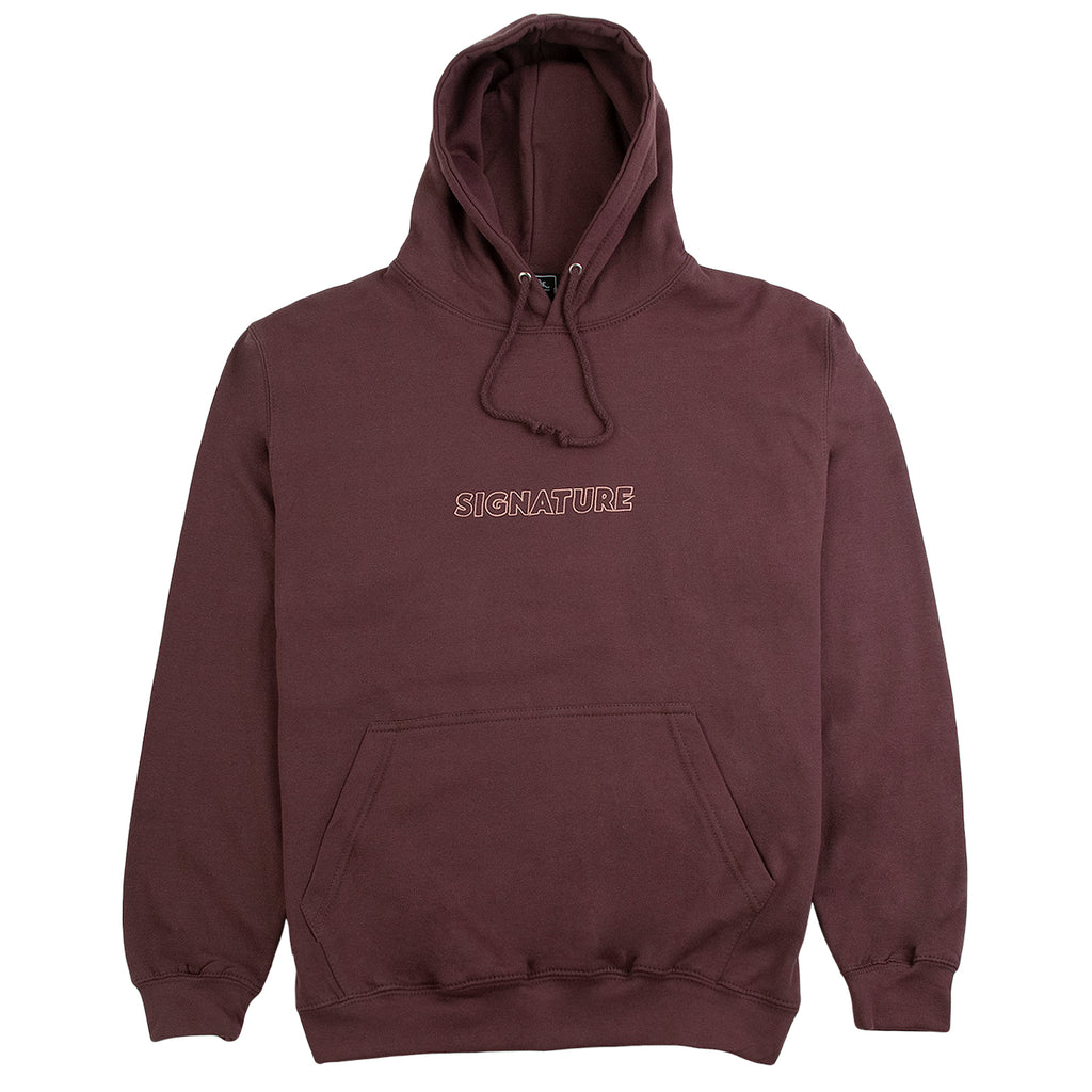 Signature Clothing Outline Logo Embroidered Hoodie in Wild Mulberry / Pink
