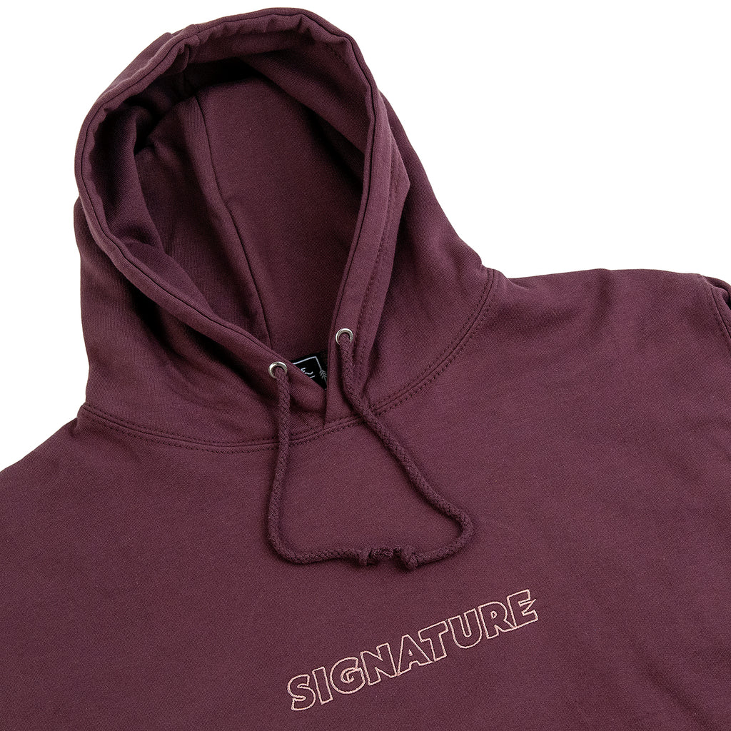 Signature Clothing Outline Logo Embroidered Hoodie in Wild Mulberry / Pink - Detail
